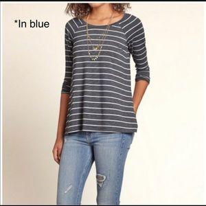 Hollister Blue Striped Long Sleeve Easy Shirt